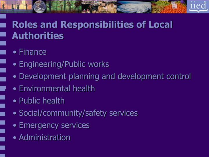 Roles and Responsibilities of Local Authorities