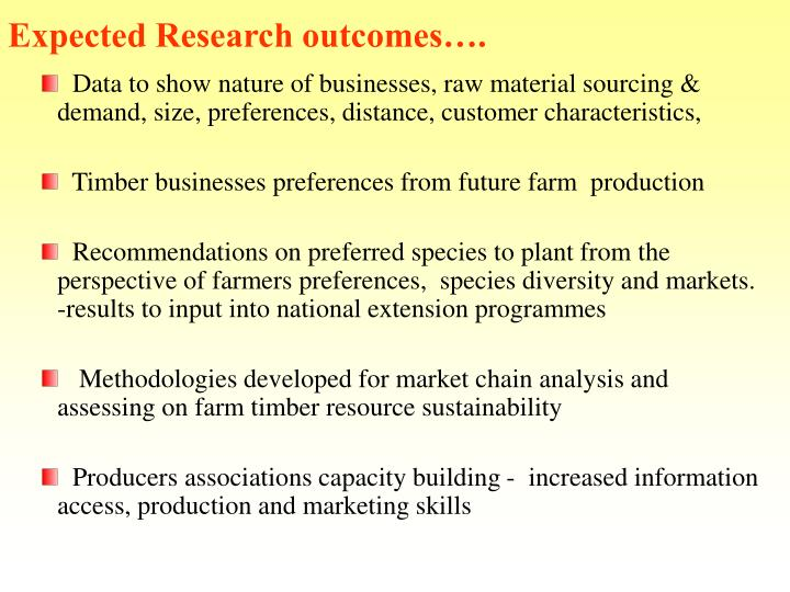 Expected Research outcomes….