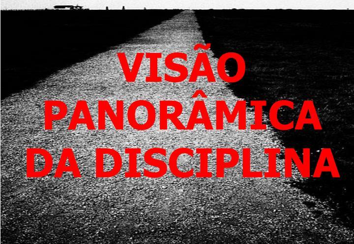 VISÃO PANORÂMICA DA DISCIPLINA