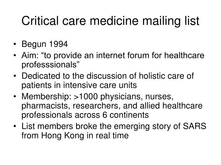 Critical care medicine mailing list
