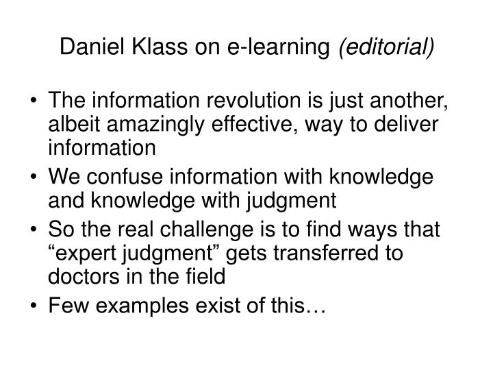 Daniel Klass on e-learning