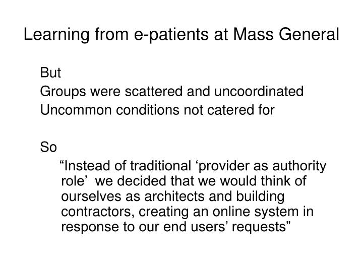 Learning from e-patients at Mass General