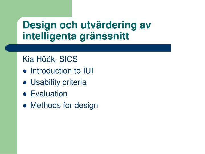 Design och utvärdering av intelligenta gränssnitt
