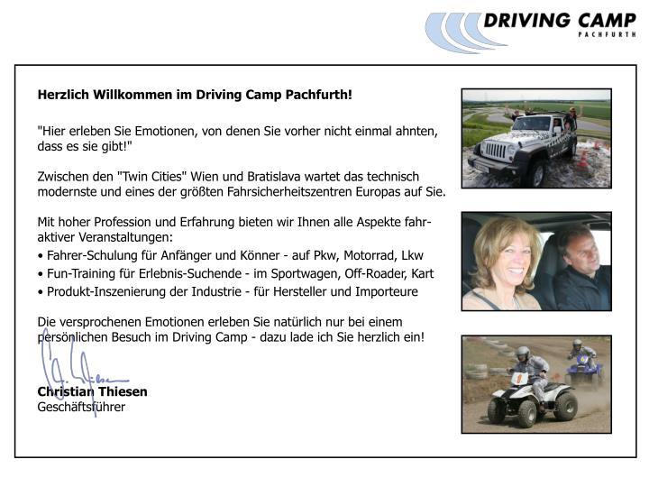 Herzlich Willkommen im Driving Camp Pachfurth!