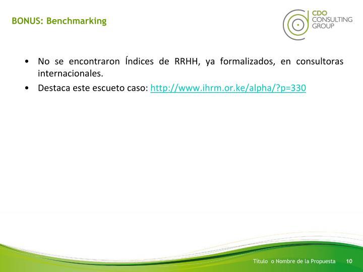 BONUS: Benchmarking