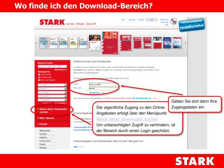 Wo finde ich den Download-Bereich?