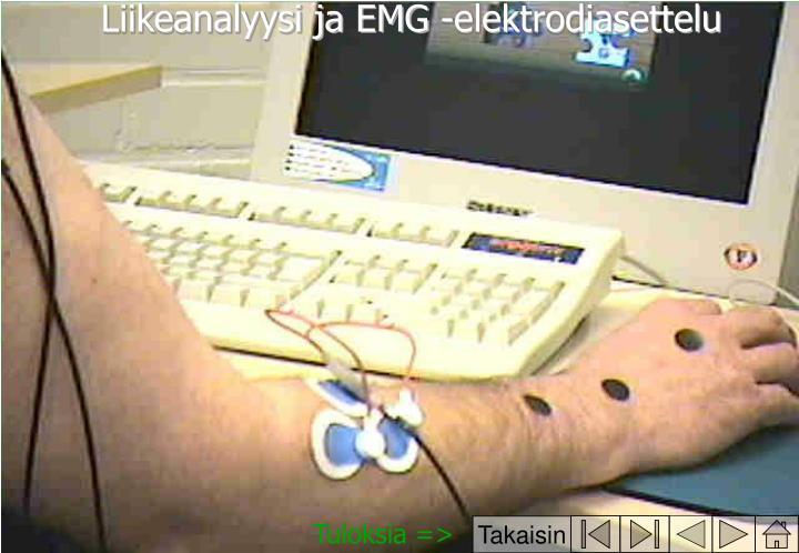 Liikeanalyysi ja EMG -elektrodiasettelu
