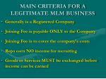 main criteria for a legitimate mlm business