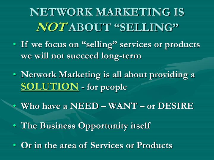 NETWORK MARKETING IS