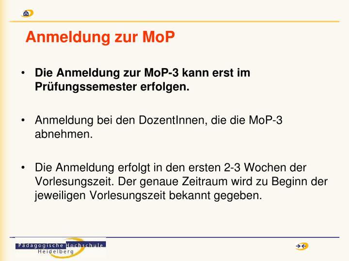 Anmeldung zur MoP