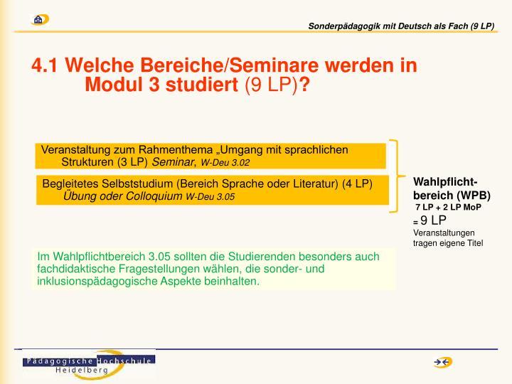 4.1 Welche Bereiche/Seminare werden in