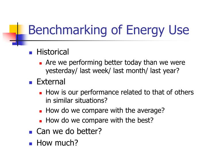 Benchmarking of Energy Use