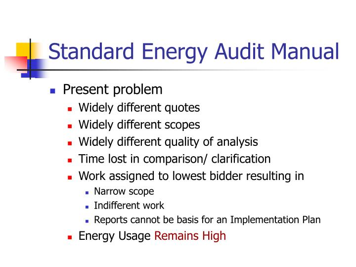 Standard Energy Audit Manual