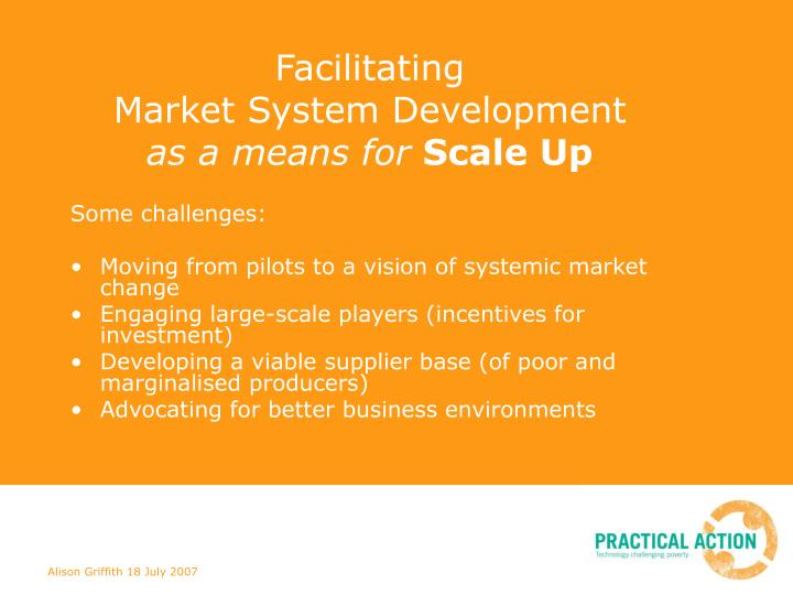 Facilitating market system development as a means for scale up