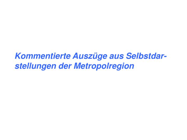 Kommentierte Auszüge aus Selbstdar-stellungen der Metropolregion