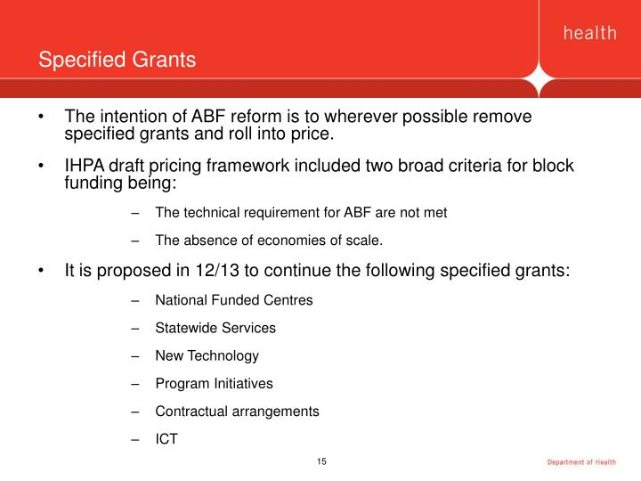 Specified Grants