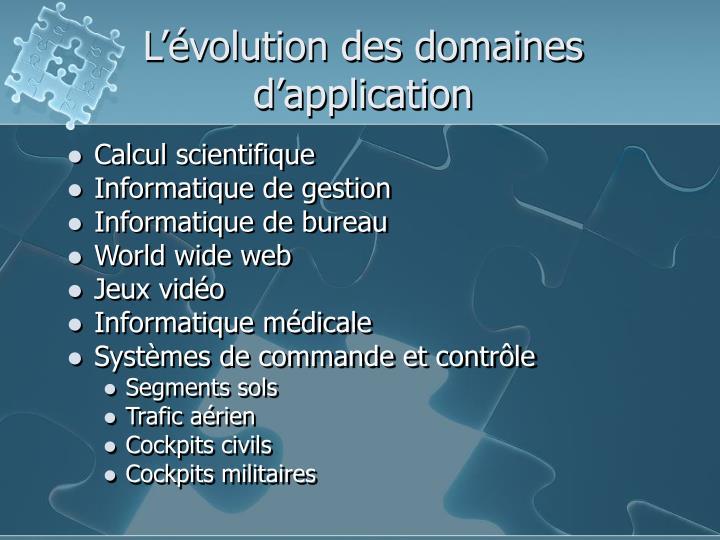 L'évolution des domaines d'application
