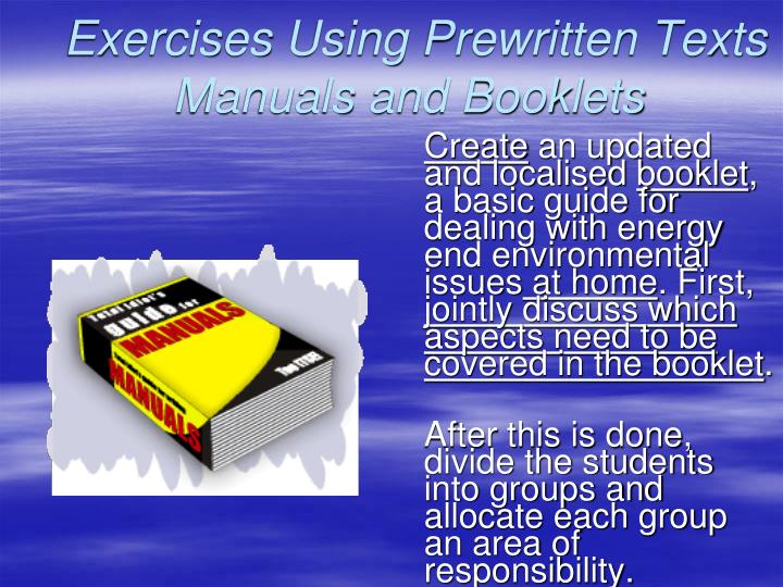 Exercises Using Prewritten Texts