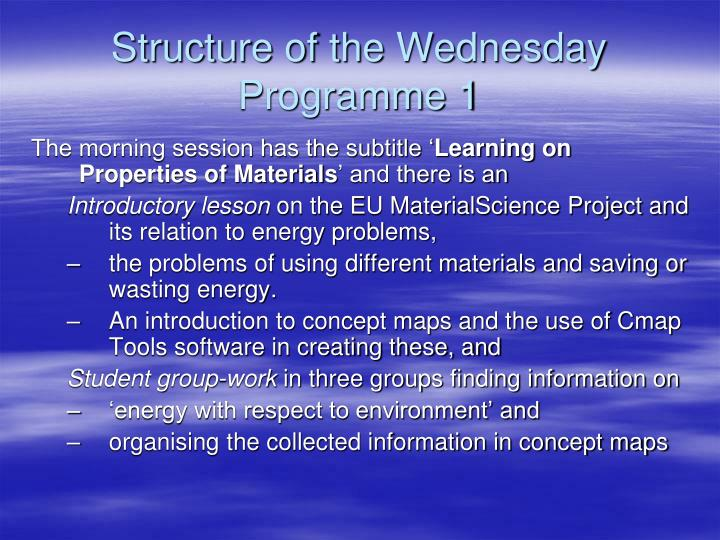 Structure of the Wednesday Programme 1