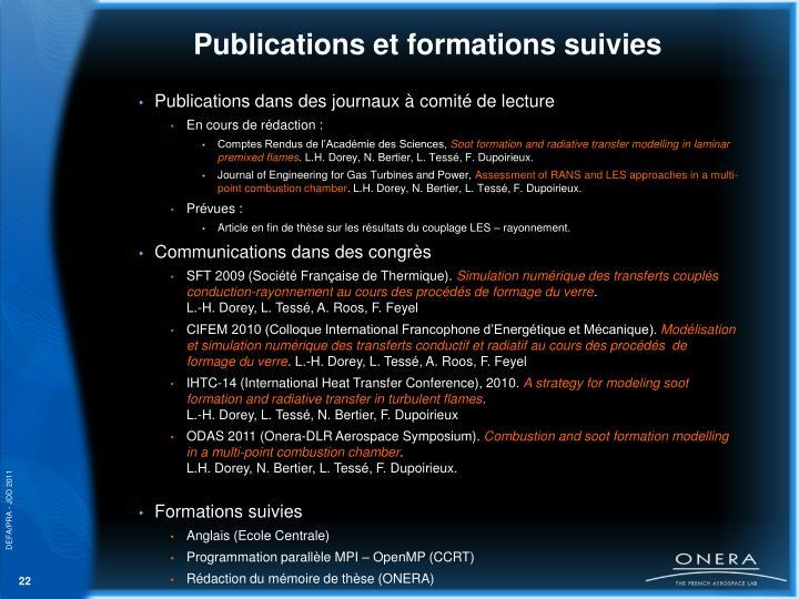 Publications et formations suivies