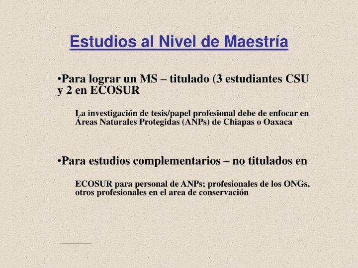 Estudios al Nivel de Maestría