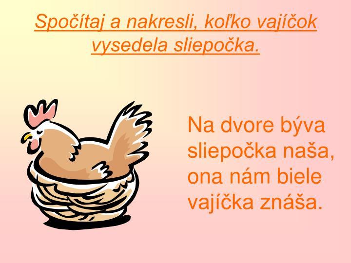Spočítaj a nakresli, koľko vajíčok vysedela sliepočka.