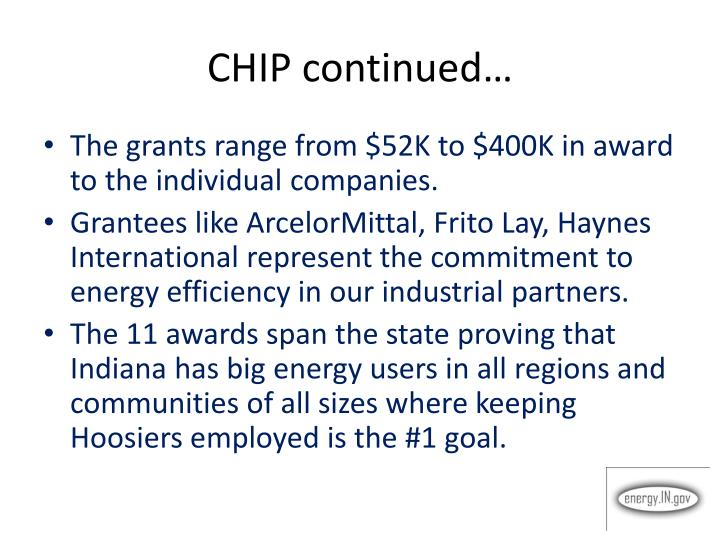 CHIP continued…