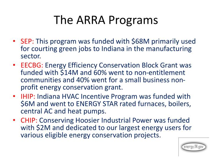 The ARRA Programs