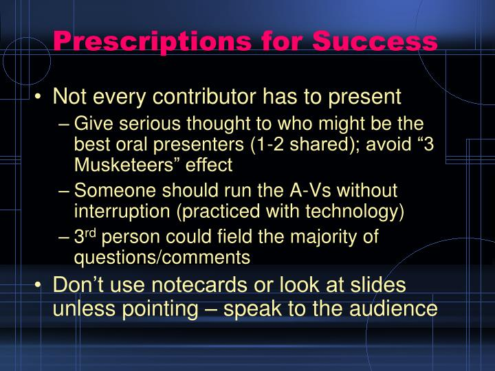 Prescriptions for Success