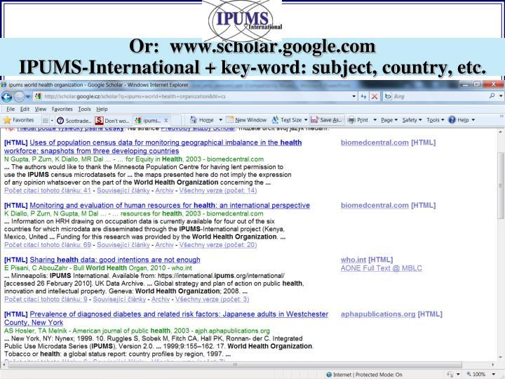 Or:  www.scholar.google.com
