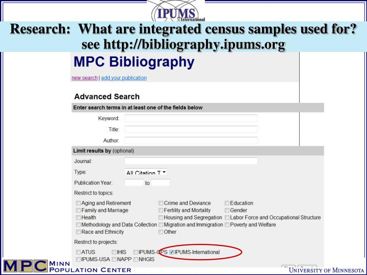 Research:  What are integrated census samples used for?
