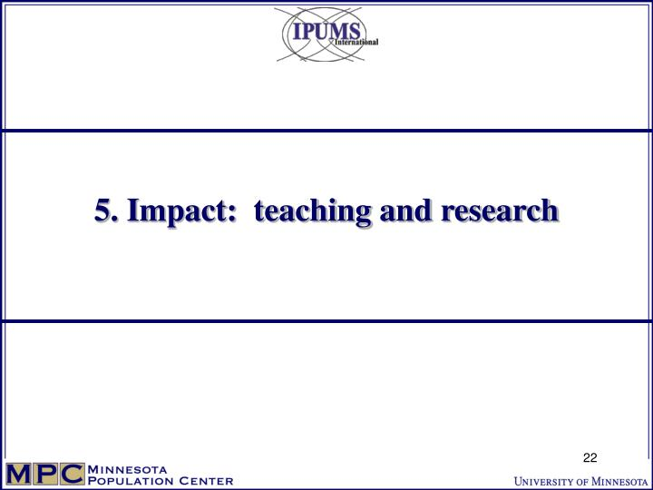5. Impact:  teaching and research
