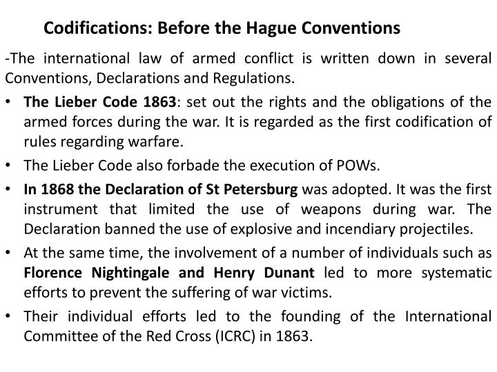 Codifications: Before the Hague Conventions