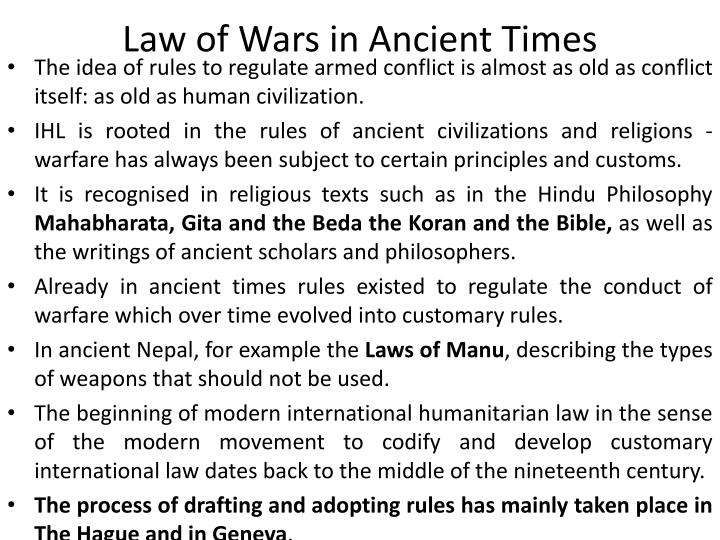 Law of Wars in Ancient Times