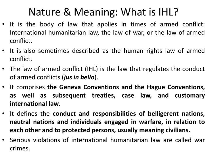 Nature meaning what is ihl