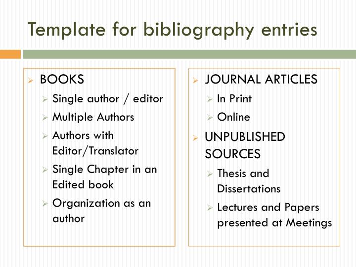 Template for bibliography entries