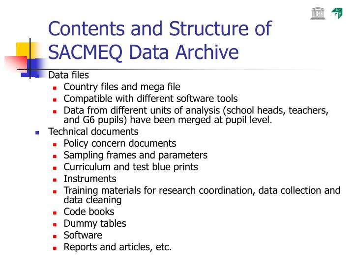 Contents and Structure of SACMEQ Data Archive