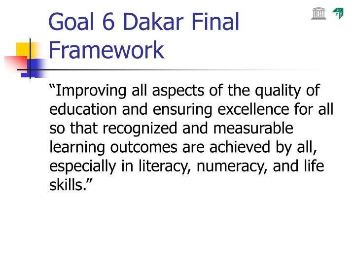 Goal 6 Dakar Final Framework