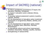 impact of sacmeq national