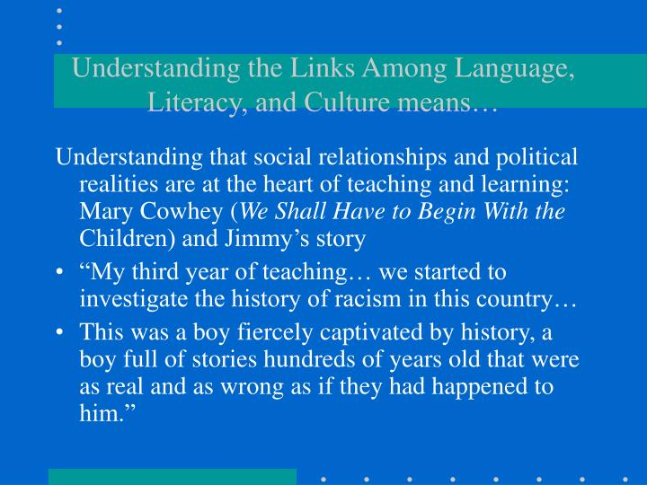 Understanding the Links Among Language, Literacy, and Culture means…