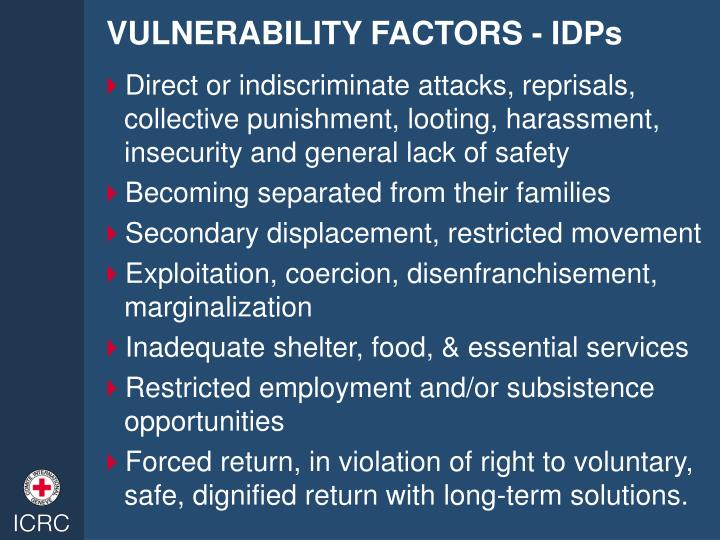 VULNERABILITY FACTORS - IDPs