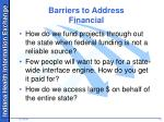 barriers to address financial