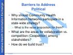 barriers to address political