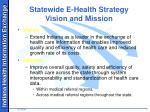 statewide e health strategy vision and mission
