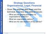 strategy questions organizational legal financial