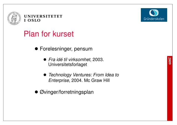 Plan for kurset