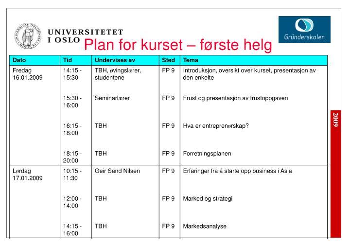 Plan for kurset – første helg