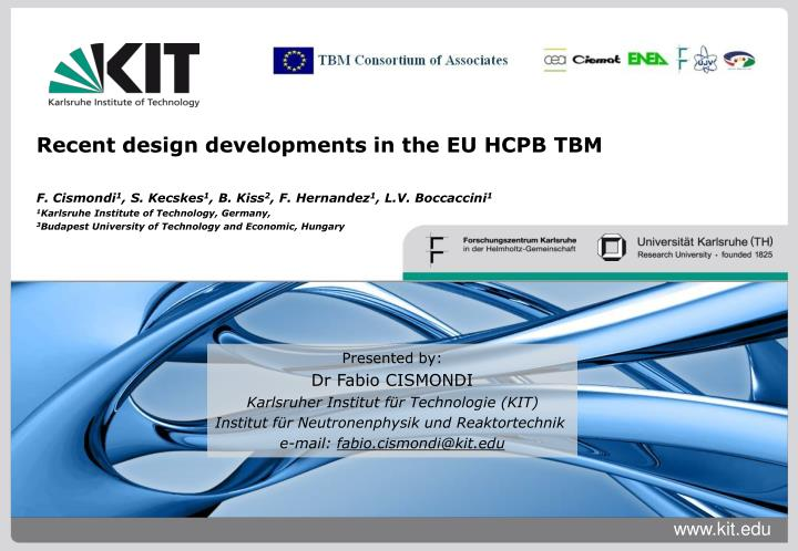 Recent design developments in the EU HCPB TBM