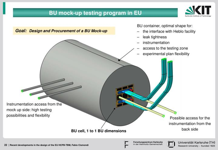 BU mock-up testing program in EU