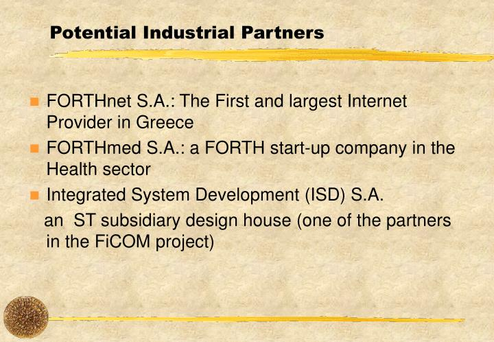 Potential Industrial Partners